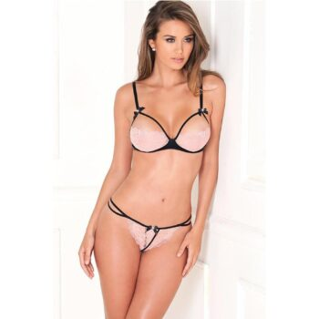 2PC Lace Bra Pink Cups and G-String