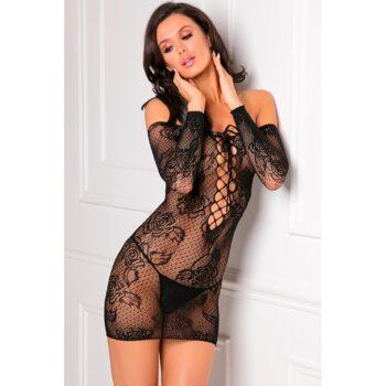 Tie Breaker Long Sleeve Dress Black OS